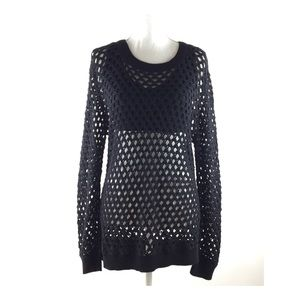 TRINA TURK Black Cotton Open Knit Sweater